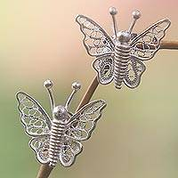 Sterling silver filigree earrings, 'Filigree Butterfly' - Sterling silver filigree earrings