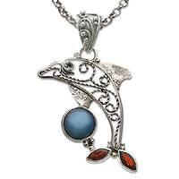 Garnet and pearl pendant necklace, 'Dolphin Plays Ball' - Garnet and pearl pendant necklace
