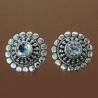 Topaz earrings, 'Cold Blue Sun' - Blue Topaz Post Earrings with Concentric Silver Spheres