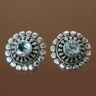 Topaz earrings, 'Cold Blue Sun' - Floral Blue Topaz Sterling Silver Button Earrings