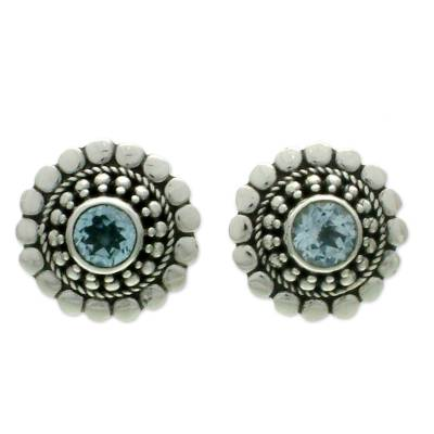 Topaz earrings, 'Cold Blue Sun' - Floral Blue Topaz Sterling Silver Button Earrings
