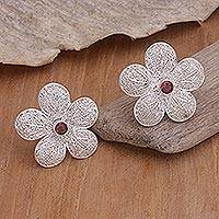 Garnet flower earrings, 'Love Blossom' - Handmade Garnet Sterling Silver Earrings