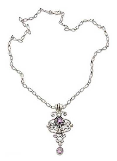 Amethyst pendant necklace, 'Exultation' - Sterling Silver and Amethyst Pendant Necklace