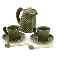 Stoneware tea set, 'Rainforest' (set for 2) - Stoneware tea set (Set for 2)