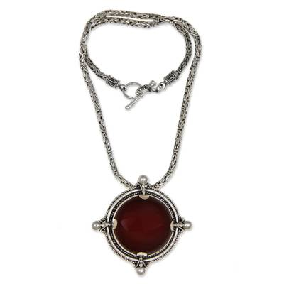Carnelian pendant necklace, 'Power' - Handmade Sterling Silver and Carnelian Pendant Necklace