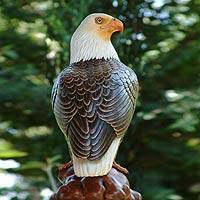 Wood sculpture, 'Powerful Eagle' - Wood sculpture