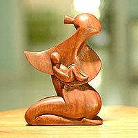 Wood statuette, 'A Mother's Love' - Unique Wood Mother and Child Sculpture from Indonesia