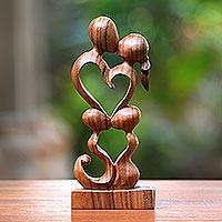 Wood sculpture, 'Harmony' - Hand Crafted Heart Shaped Sculpture