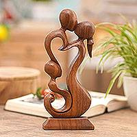 Wood sculpture, 'Loving Family' - Hand Made Wood Sculpture
