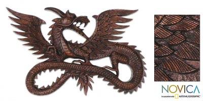 Wood relief panel, 'Flying Dragon' - Suar Wood Wall Sculpture