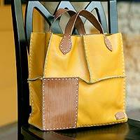 Leather handbag, 'Urban Safari in Yellow' - Unique Leather Handbag from Indonesia