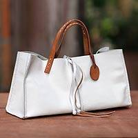 Leather handbag, 'White Sophistication' - Leather Tote Shoulder Bag