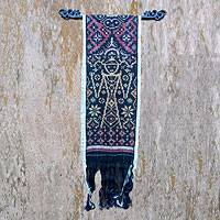 Cotton ikat wall hanging, 'Red Goddess' - Artisan Crafted Cotton Ikat Tapestry