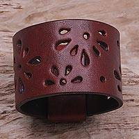 Leather bracelet, 'Floral Red' - Women's Leather Wristband Bracelet