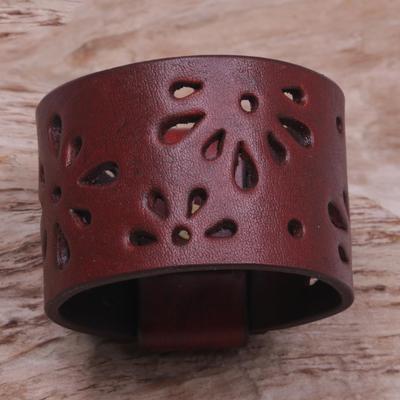 Leather bracelet, 'Floral Red' - Women's Leather Wristband Bracelet