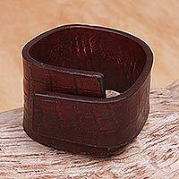 Leather bracelet, 'Fearless in Red' - Leather Wristband Bracelet