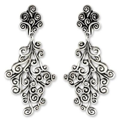 Sterling silver dangle earrings, 'Vineyard' - Sterling Silver Dangle Earrings