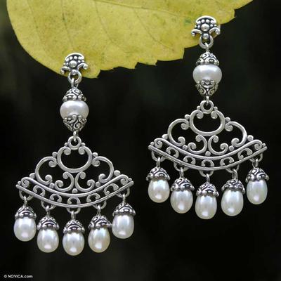 Pearl chandelier earrings, 'Miracles' - Sterling Silver Pearl Chandelier Earrings