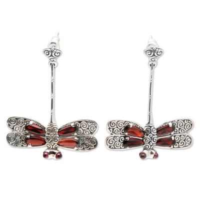 Garnet drop earrings, 'Dragonfly' - Garnet drop earrings