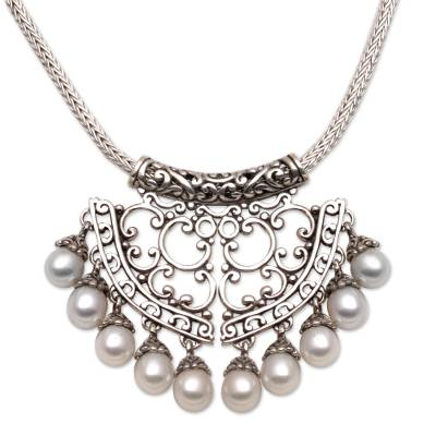Sterling Silver and Pearl Pendant Necklace