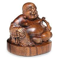 Wood statuette, 'Jovial Buddha' - Original Wood Sculpture