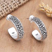 Sterling silver half hoop earrings, 'Balinese Dreams' - Sterling Silver Hoop Earrings
