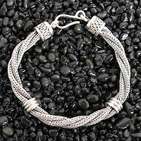 Men's sterling silver bracelet, 'Togetherness' - Men's Sterling Silver Braided Bracelet