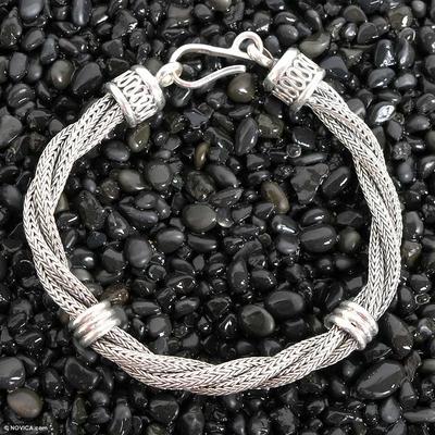 Men's sterling silver bracelet, 'Togetherness' - Men's Sterling Silver Braided Bracelet