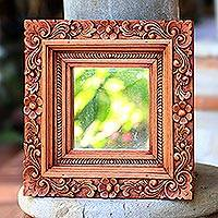 Mirror, 'Frangipani' - Square Floral Wood Mirror