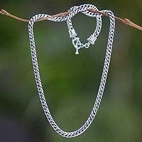 Men's sterling silver chain necklace, 'Sleek' - Rugged Men's Heavy Silver Snake Chain from Java