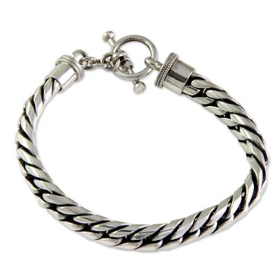 Men's sterling silver braided bracelet, 'Silver Choices' - Men's Sterling Silver Chain Bracelet