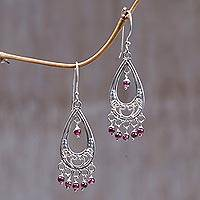 Garnet dangle earrings, 'Wings' - Garnet dangle earrings