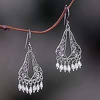 Pearl chandelier earrings, 'River Mountain' - Bridal Sterling Silver Pearl Chandelier Earrings