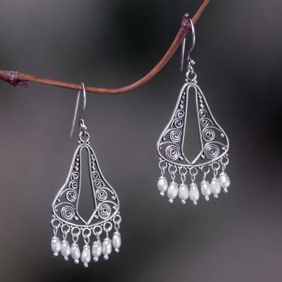 6aa8f02f4 Pearl chandelier earrings, 'River Mountain' - Bridal Sterling Silver Pearl  Chandelier Earrings