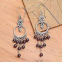 Garnet earrings, 'Dancing Swans' - Garnet earrings