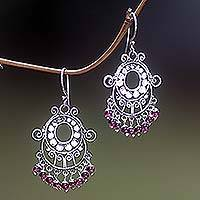Garnet chandelier earrings, 'Bali Fanfare' - Handcrafted Silver and Garnet Earrings from Indonesia