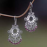 Garnet chandelier earrings, 'Bali Fanfare'