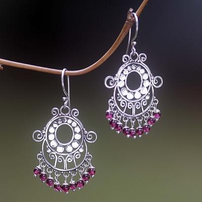 Garnet chandelier earrings, 'Bali Fanfare' - Sterling Silver Garnet Beaded Earrings