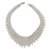 Sterling silver necklace, 'Bali Armor'