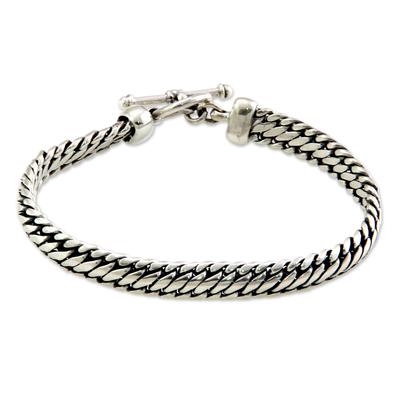 Sterling silver braided bracelet, 'Links of Power' - Sterling Silver Chain Bracelet