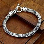 Men's Handmade Sterling Silver Chain Bracelet, 'Currents'