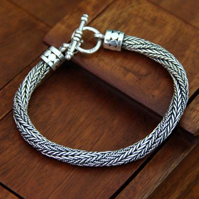 Men's sterling silver chain bracelet, 'Currents' - Men's Handmade Sterling Silver Chain Bracelet