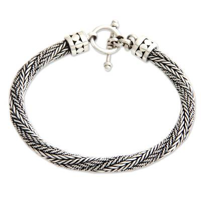Men's sterling silver chain bracelet, 'Currents' - Men's Handmade Sterling Silver Chain Bracelet