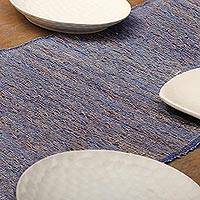 Natural fiber table runner, 'Blue Paradise'