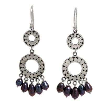 Pearl chandelier earrings, 'Eclipse in Black' - Pearl chandelier earrings