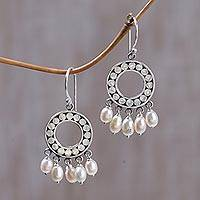 Pearl chandelier earrings, 'White Moon Aura'
