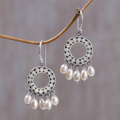 Pearl chandelier earrings, 'White Moon Aura' - Indonesian Sterling Silver Pearl Chandelier Earrings