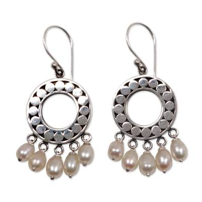 Indonesian Sterling Silver Pearl Chandelier Earrings