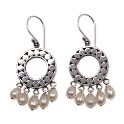 Pearl chandelier earrings, 'White Moon Aura' - Indonesian Sterling Silver Pearl Chandelier Earrings