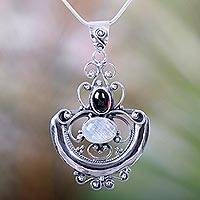 Rainbow moonstone and garnet pendant necklace, 'Arabesque'